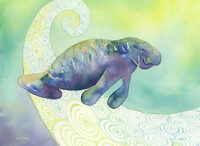 Undersea Painting - Manatee Undersea by Amy Kirkpatrick