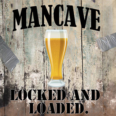 Manly Painting - Mancave Locked And Loaded by Mindy Sommers