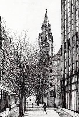 Pen And Ink Tree Drawing - Manchester Town Hall From Deansgate by Vincent Alexander Booth