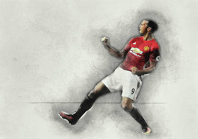 Wayne Rooney Digital Art - Manchester United's Zlatan Ibrahimovic Celebrates by Don Kuing