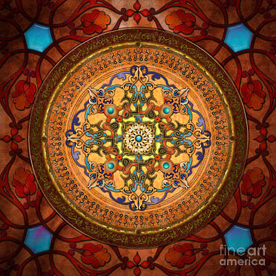 Colored Background Digital Art - Mandala Arabia by Bedros Awak