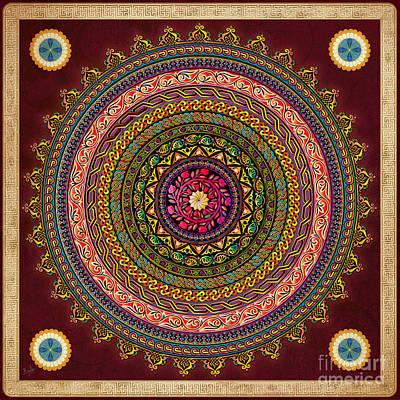 Code Mixed Media - Mandala Armenian Decorative Art - Bordeaux Version by Bedros Awak