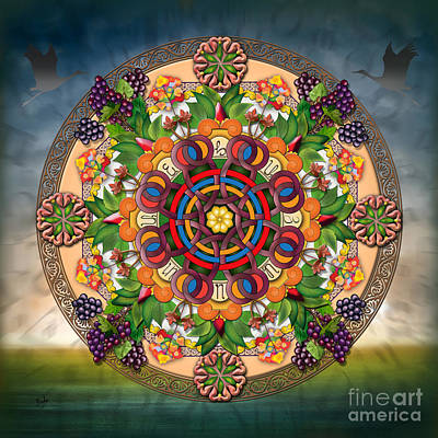 Stork Mixed Media - Mandala Armenian Grapes by Bedros Awak
