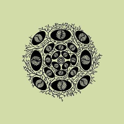 Visionary Art Drawing - Mandala Black 15-05-05 Transparent Background by Leana De Villiers