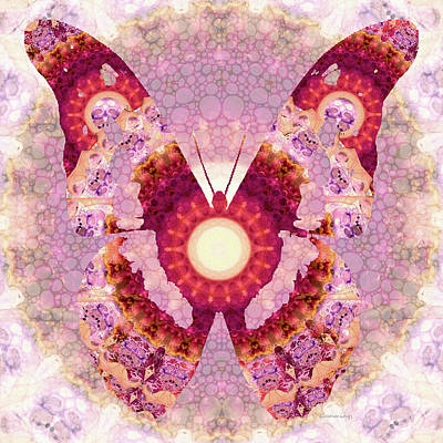 Mandala Butterfly 1 - Art By Sharon Cummings Print by Sharon Cummings