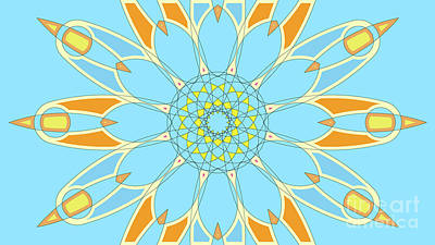 Abstracto Painting - Mandala Cyan And Orange, Star, Abstract Star, Birthday Gift by Pablo Franchi