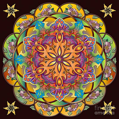 Floral Ring Digital Art - Mandala Exotica by Bedros Awak