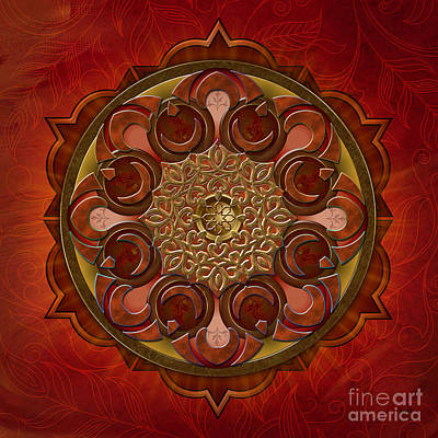 Burning Mixed Media - Mandala Flames by Bedros Awak