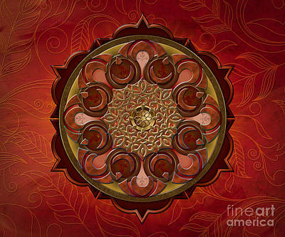 Burning Mixed Media - Mandala Flames Sp by Bedros Awak
