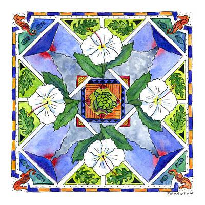 Sea Turtles Painting - Mandala IIi - White Hibiscus by Diane Thornton