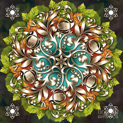 Christmas Greeting Mixed Media - Mandala Metallic Ornament by Bedros Awak