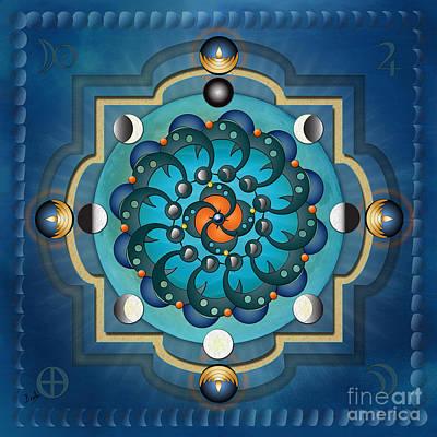 Icon Mixed Media - Mandala Moon Phases by Bedros Awak