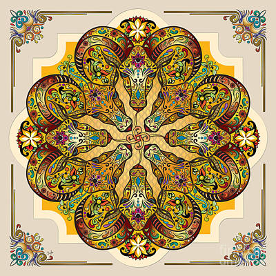 Goat Mixed Media - Mandala Sacred Rams - Bright Version by Bedros Awak