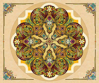 Goat Mixed Media - Mandala Sacred Rams - Bright Version Sp by Bedros Awak