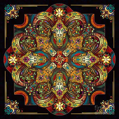 Icon Mixed Media - Mandala Sacred Rams - Dark Version by Bedros Awak
