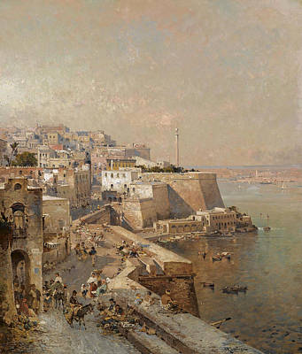 Painting - Manderaggio In La Valletta. Malta by Franz Richard Unterberger