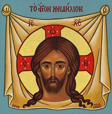 Greek Icon Painting - Mandilion by Michael Courey