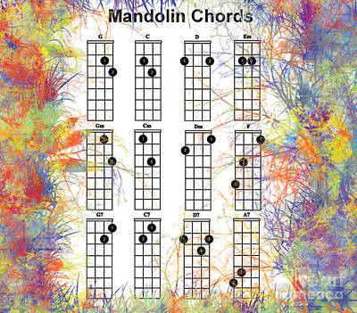 Must Art Painting - Mandolin Chords Chart II by Trilby Cole