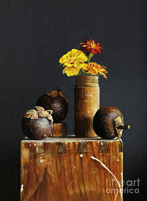 Marigolds Painting - Mangosteens by Larry Preston