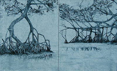 Dyptich Painting - Mangroves by Leah  Tomaino