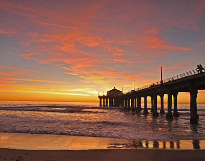 Beaches Photograph - Manhattan Beach Sunset by Matt MacMillan