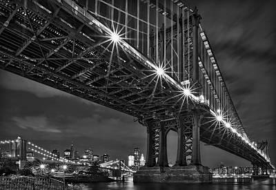 New York City Skyline Photograph - Manhattan Bridge Frames The Brooklyn Bridge by Susan Candelario