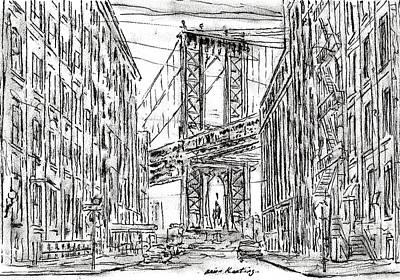Greenwich Village Drawing - Manhattan Bridge, Nyc by Brian Keating