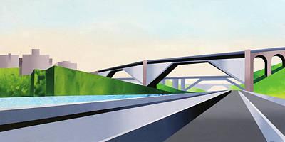 Harlem Painting - Manhattan Bridges by Mark Webster