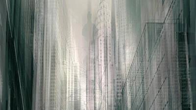 Chrysler Building Digital Art - Manhattan Mayhem II by Jessica Jenney