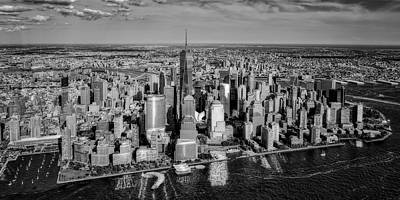 Aerial Photograph - Manhattan Nyc Aerial View Bw by Susan Candelario