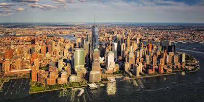 Aerials Photograph - Manhattan Nyc Aerial View by Susan Candelario