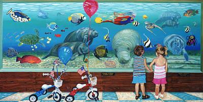 Atlantis Painting - Manitee Aquarium With My Twins by Bonnie Siracusa