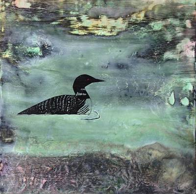 Loon Mixed Media - Manitoba Loon In The Rocks by Sandy Glass
