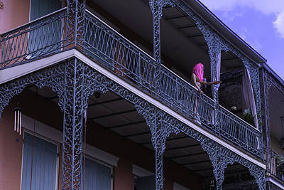 Pink Hair Photograph - Mannequin On Balcony  by Garry Gay