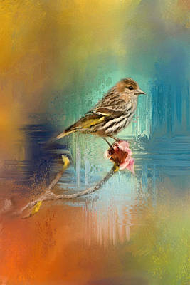 Siskin Painting - Many Colors by Jai Johnson