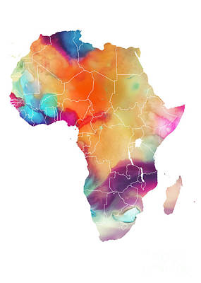 Africa Digital Art - Map Africa Watercolor Colored Maps by Justyna JBJart