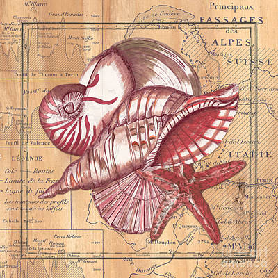 Pen And Ink Painting - Map And Shells by Debbie DeWitt