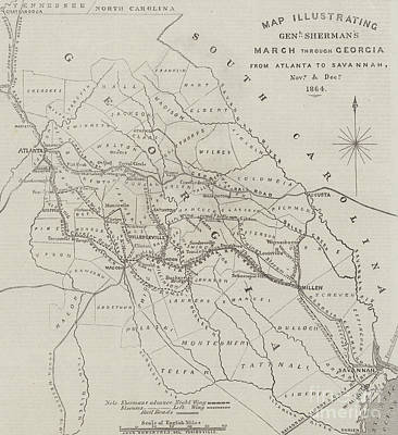 Map Illustrating General Sherman's March Through Georgia  Print by John Dower