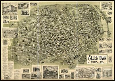 Bruce Springsteen Drawing - Map Of Allentown Pennsylvania  by Pd