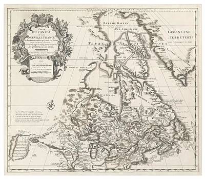 Canada Drawing - Map Of Canada Or New France by Guillaume Delisle