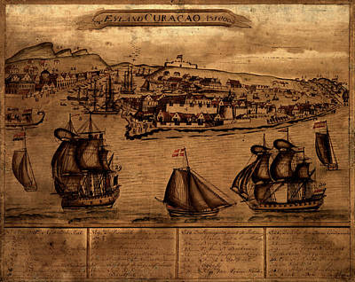 Map Of Netherlands Photograph - Map Of Curacao 1800 by Andrew Fare