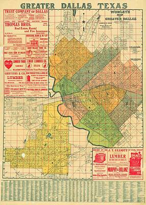 Dallas Drawing - Map Of Dallas 1905 by Mountain Dreams