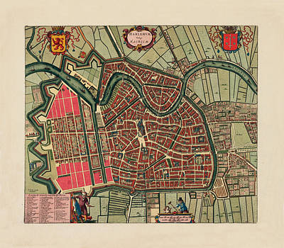 Map Of Netherlands Photograph - Map Of Haarlem 1695 by Andrew Fare