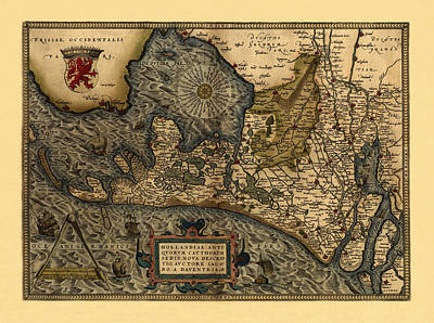Map Of Netherlands Photograph - Map Of Holland 1570 by Andrew Fare