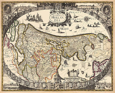 Map Of Netherlands Photograph - Map Of Holland 1630 by Andrew Fare