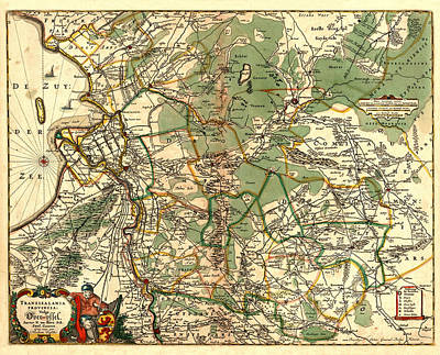 Map Of Netherlands Photograph - Map Of Holland 1658 by Andrew Fare