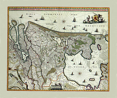 Map Of Netherlands Photograph - Map Of Holland 1682 by Andrew Fare