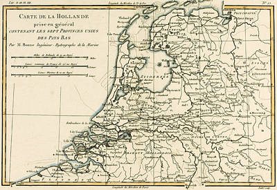 Coastal Drawing - Map Of Holland Including The Seven United Provinces Of The Low Countries by Guillaume Raynal