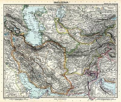 Adolf Painting - Map Of Iran And Turan In Qajar Dynasty Drawn By Adolf Stieler by Celestial Images