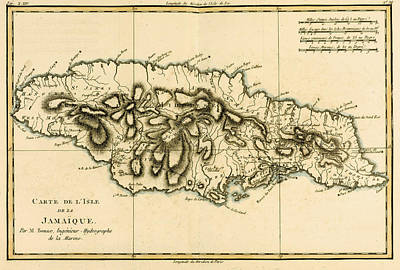 West Indies Drawing - Map Of Jamaica by Guillaume Raynal